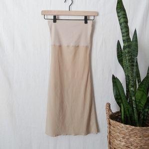 Spanx Strapless Dress Compression Beige Slit